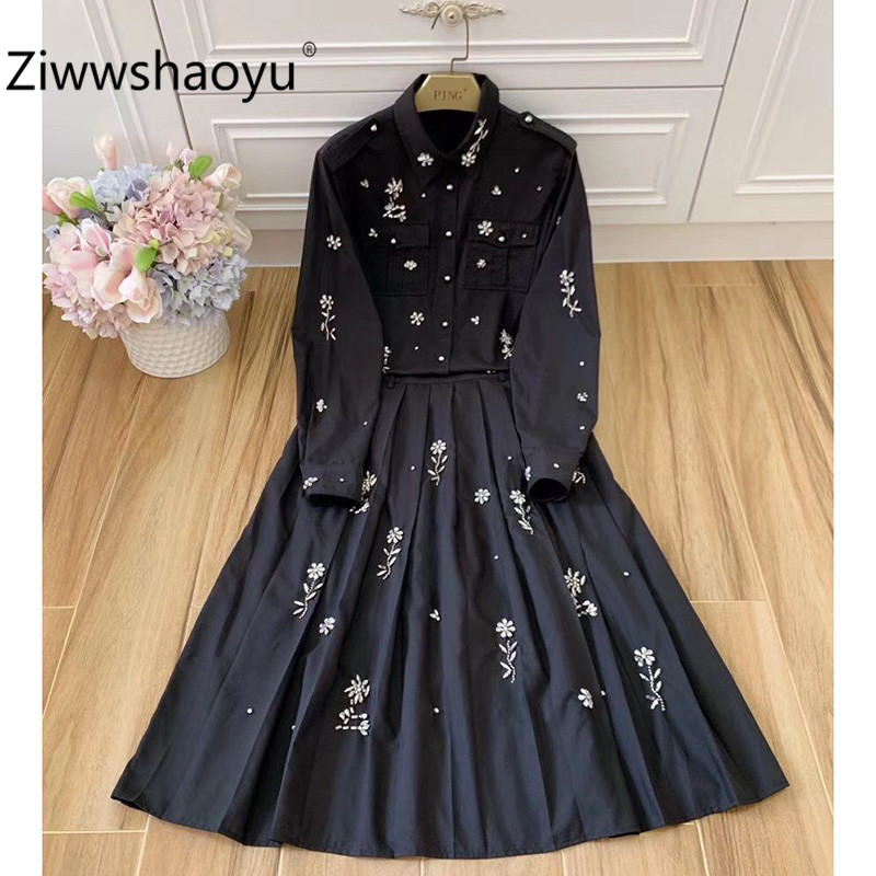 Ziwwshaoyu Designer High End 100% Cotton Black Skirt Suit Women's Crystal Diamond Fashion Party Two Piece Set thumbnail