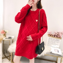 Pullover Maternity-Sweaters Pregnant-Women Winter for Loose Hot Geometry-Pattern Knitted