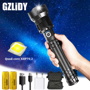 Glare XHP70.2 LED Flashlight USB Charging Tactical Torch Super Bright Waterproof Zoom Hunting Light Using 18650 or 26650 Battery 10000lums led l2 red tactical flashlight super bright usb rechargeable torch clip hunting light waterproof for 18650 battery set