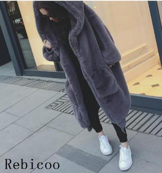 Oversized Winter Faux Fur Coat Women Parka Long Warm Faux Fur Jacket Coats Hoodies Loose Winter Coat Outwear casaco feminino 11