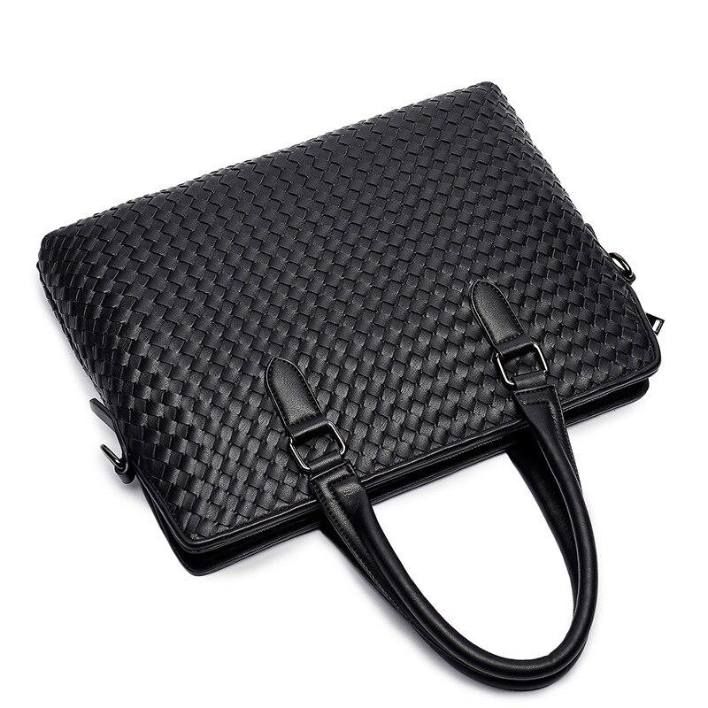 Bussiness Men Briefcase Weaving Bag Men's Shoulder Bag Casual Messenger Bags Large Laptop Handbag Travel Man Bags Bolso Hombre