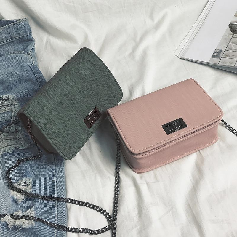 New Style One-Shoulder Square Sling Bag Linen Finish Turnlock Bag Korean-style Fashion WOMEN'S Bag Chain Shoulder Crossbody Bag