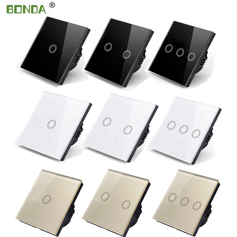 BONDA Genuine EU Standard 1/2/3 Open Black,white Gold Color Touch Screen Wall Light Switch Luxury Crystal Glass Panel