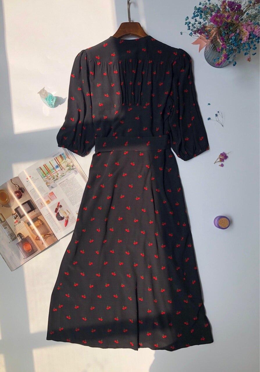 Donna Vestito di Ciliegio Vestito Lungo 2019 Primavera Elegante con scollo a V midi Dress-in Abiti da Abbigliamento da donna su  Gruppo 3