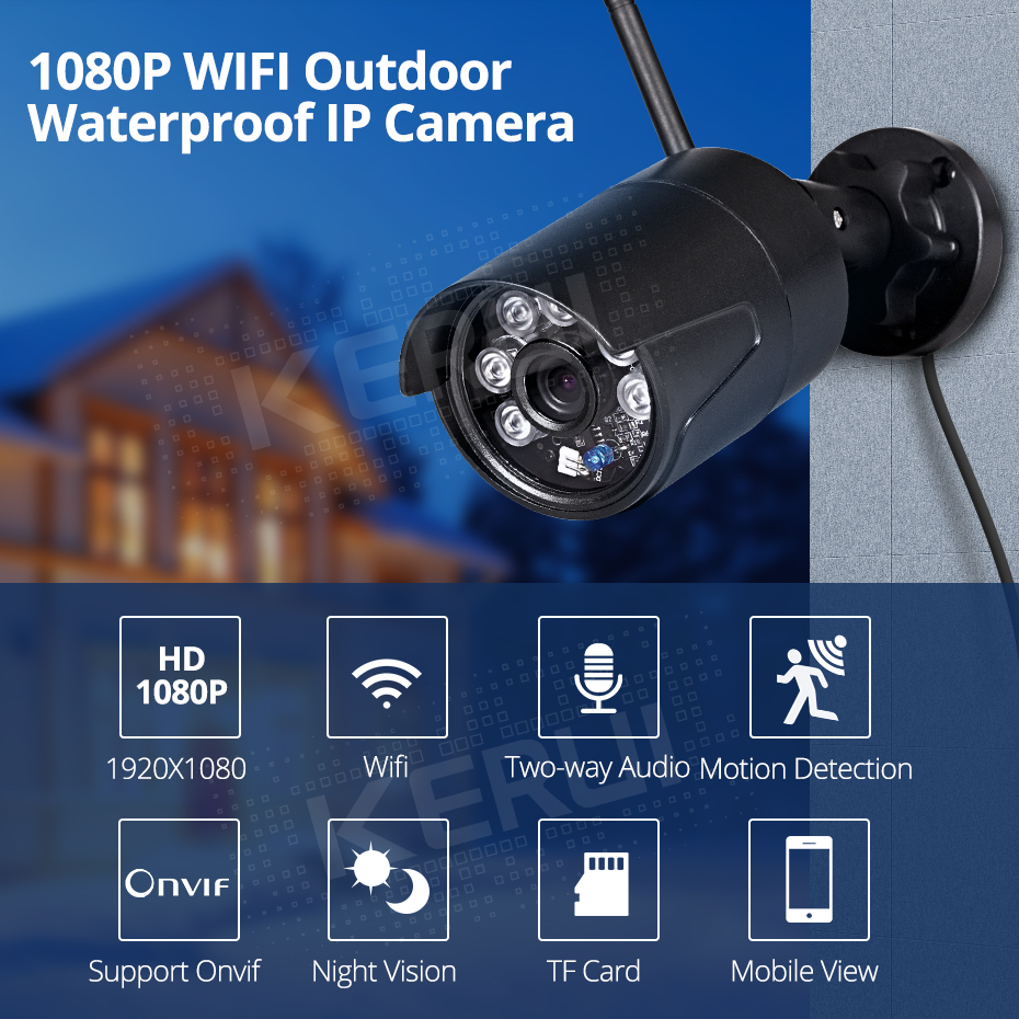 KERUI IP Camera Wifi Outdoor Waterproof Home Security Camera Wireless 1080p HD Support ONVIF Night Vision Surveillance System