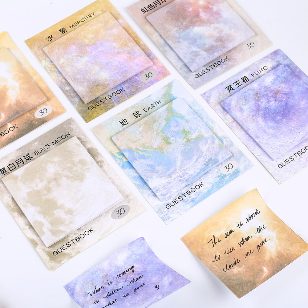Korean Mini Planet Galaxy Space Moon Memo Pads Cute Kawaii Sticky Notes Fancy Notepad Stationery Stationary Office School Supply