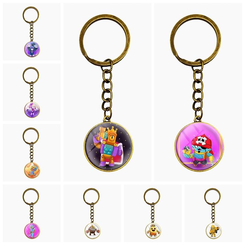 Brawl Cartoon Stars Hot Game 3D Metal School Phone Key Ring Keychain Pendant Key Holder Ring For Players Men Women Gift