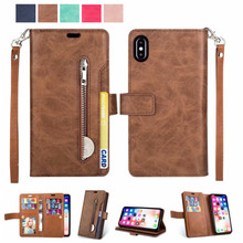Retro Zipper Leather Case Phone Cover For Apple IPhone 5 6 6S 7 8 Plus Flip Stand Cover With Card Slots for IPhone X 11 pro Max crazy horse genuine leather shell with stand for iphone 6s 6 4 7 inch brown