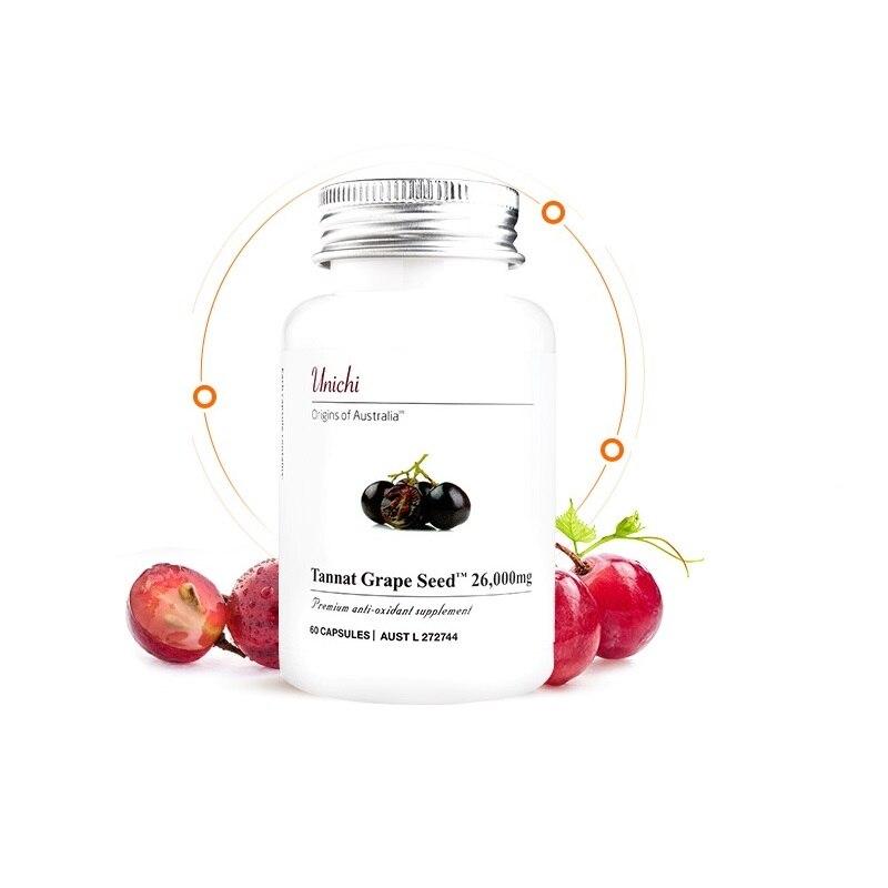 Australia Unichi Tannat Grape Seed Supplement Support Healthy Skin Improve Texture Keep Skin Elastic Nourished Collagen Elastin
