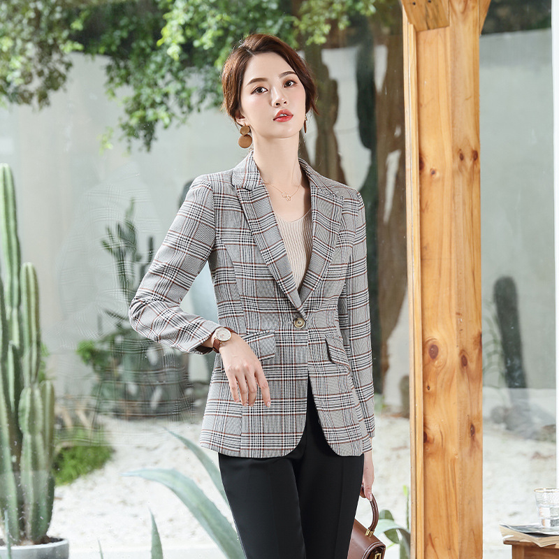 Women's Casual Professional Blazer Tops 2019 New Autumn Slim Plaid Ladies Jacket Small Suit Korean Fashion Jacket Women