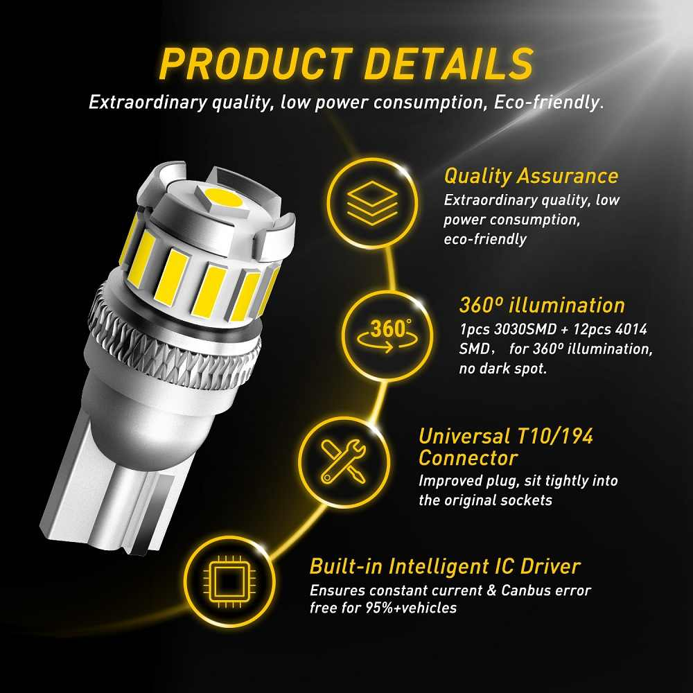 2x W5W LED T10 LED ampuller Canbus 4014 3020 SMD araba park pozisyonu işıkları İç harita Dome işıklar 12V beyaz otomatik lamba 6500K