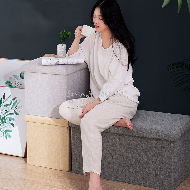 Foldable Storage Stool Multifunctional Fabric Pouf Sofa Small Stool Household Rectangular Chair Shoe Changing Stool 110L