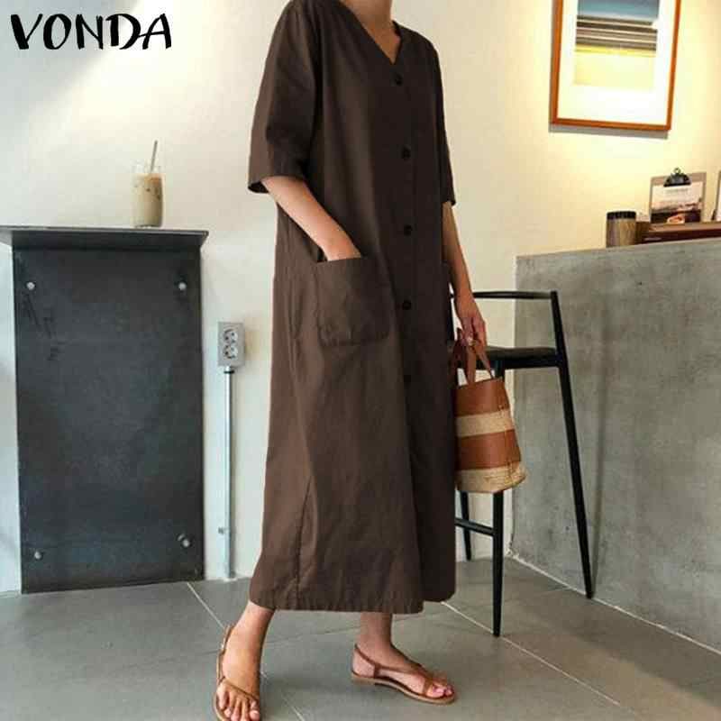VONDA moda yarım kollu elbise 2020 kadınlar seksi V boyun düğmesi elbiseler cepler artı boyutu plaj Sundress Femme Vestidos