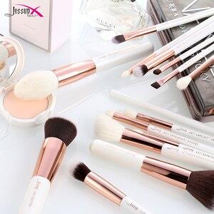 Image 4 - Jessup brushes Pearl White / Rose Gold Professional Makeup Brushes Set Make up Brush Tool Foundation Powder Definer Shader Liner