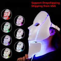 7 Colors Photon Electric LED Facial Mask Light Therapy LED Face Mask with Neck Skin Rejuvenation Anti Acne Wrinkle Beauty Tools