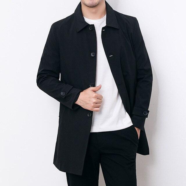 Mens Overcoat Business Casual Autumn Winter Coat Thick Windbreaker Fashion Khaki Long Trench Coat Men Xxxl 4xl Outerwear Boy Hot 4