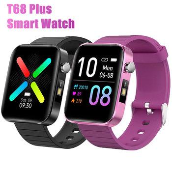 T68 Plus mężczyźni kobiety sport biznes inteligentny zegarek pomiar temperatury ciała tętno Monitor ciśnienia krwi Smartwatch dla telefonów tanie i dobre opinie BYKRSEN CN (pochodzenie) Brak Na nadgarstek Zgodna ze wszystkimi 128 MB Krokomierz Rejestrator aktywności fizycznej