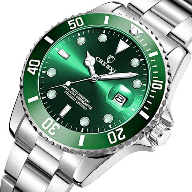 فاخر الأخضر الرجال الساعات الكلاسيكية الفضة الفولاذ المقاوم للصدأ 30 متر مقاوم للماء رجال الأعمال عادية الرياضة ساعة معصم اليابان حركة