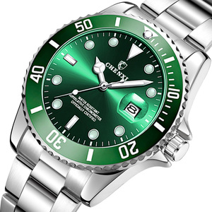 Image 1 - Luxury Green Men Watches Classic Silver Stainless Steel 30M Waterproof Casual Business Mens Sport Wrist Watch  Japan Movement