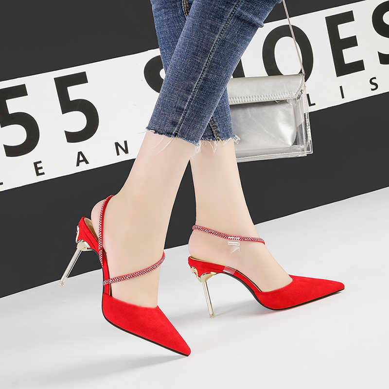 high heels sexy rhinestone red sandals stiletto party women shoes pointed toe shallow zapatos de mujer de moda 2019 NO.55 Shoes