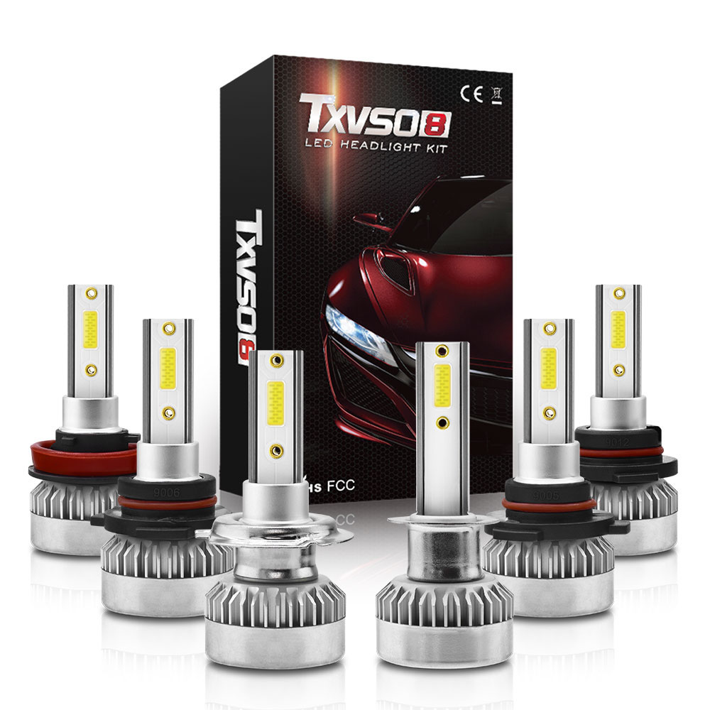 2pcs Car Headlight LED H7 Bulbs H1 H3 H8 H11 HB3 9006 55W 20000LM 6000K 12V 24V Auto Headlamp COB Fog Light Bulb
