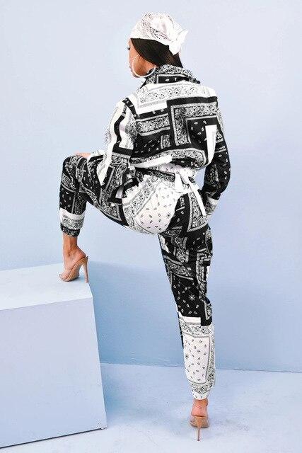 Bandana imprimir conjunto de dos piezas casual estampado de Cachemira con cremallera manga larga Chaqueta corta Tops pantalones traje de calle de chándal 2