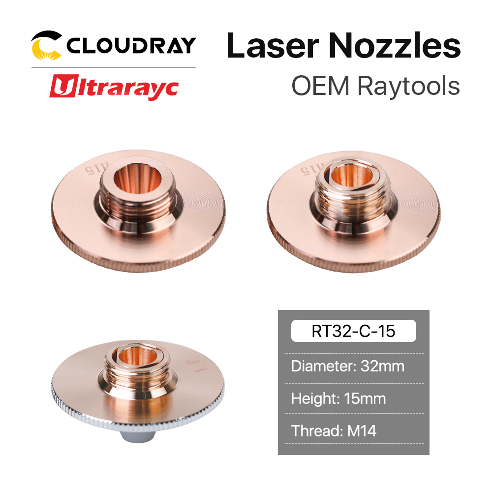 Ultrarayc Raytools Fiber Laser Nozzles Type C Bulge Single Double Chrome Plated Layers D32 H15 M14 Caliber 0.8-6 For Laser Head