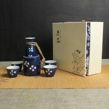 Japanese style sake wineware ceramic household warm wine pot cup separator hand-painted yellow white wine set gift box