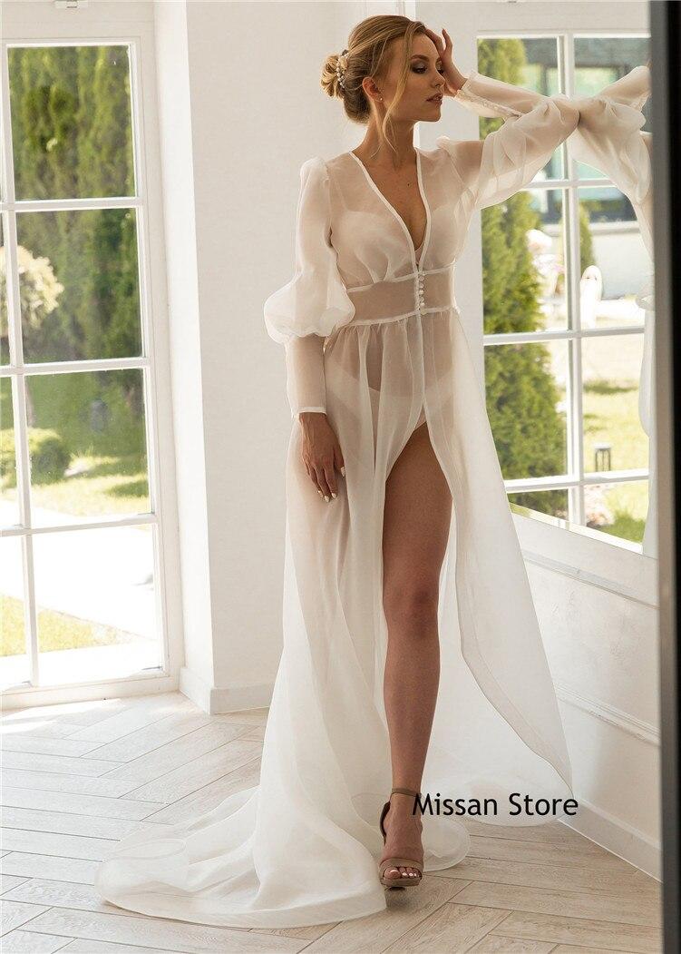 Ivory Organza Sexy Wedding Robe Bridal Robe Short Train Bridal Sleepwear