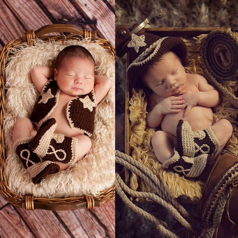 Newborn Photography Props West Cowboy Crochet Baby Clothes Boy Accessories Girl Boys Clothing  Infant Costume Crotheted Outfit