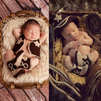 newborn photography props west cowboy crochet baby clothes boy accessories girl boys clothing  infant costume crotheted outfit 1set newborn police design photography props infant toddler costume outfit crochet