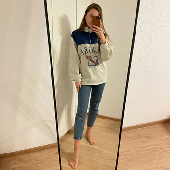 GOPLUS Women Hoodie Collar Sweatshirts Stand Half Zipper Letter Printing Long Sleeve Sweatshirts Vintage Casual Plus Size Hoodie 2