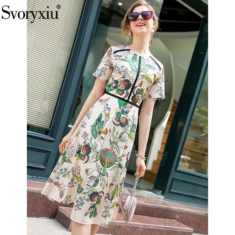 Svoryxiu Runway Designer Summer Party Butterfly Flower Print Dresses Women's Short Sleeve High Waist Mid-Calf Dress Vestdios