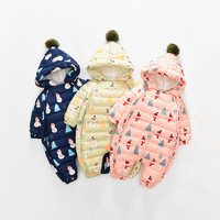 Russina Winter Baby Rompers For Newborn Duck Down Cartoon Romper Infant Jumpsuit Overalls Warm Thick Romper Baby Clothing 0 24M