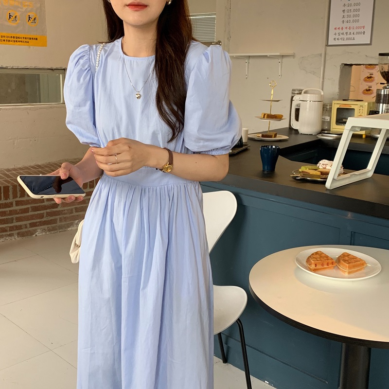 H1ede61f813cd497eb291a5db4898c58fI - Summer O-Neck Short Sleeves Elastic-Waist Calf Length Solid Dress