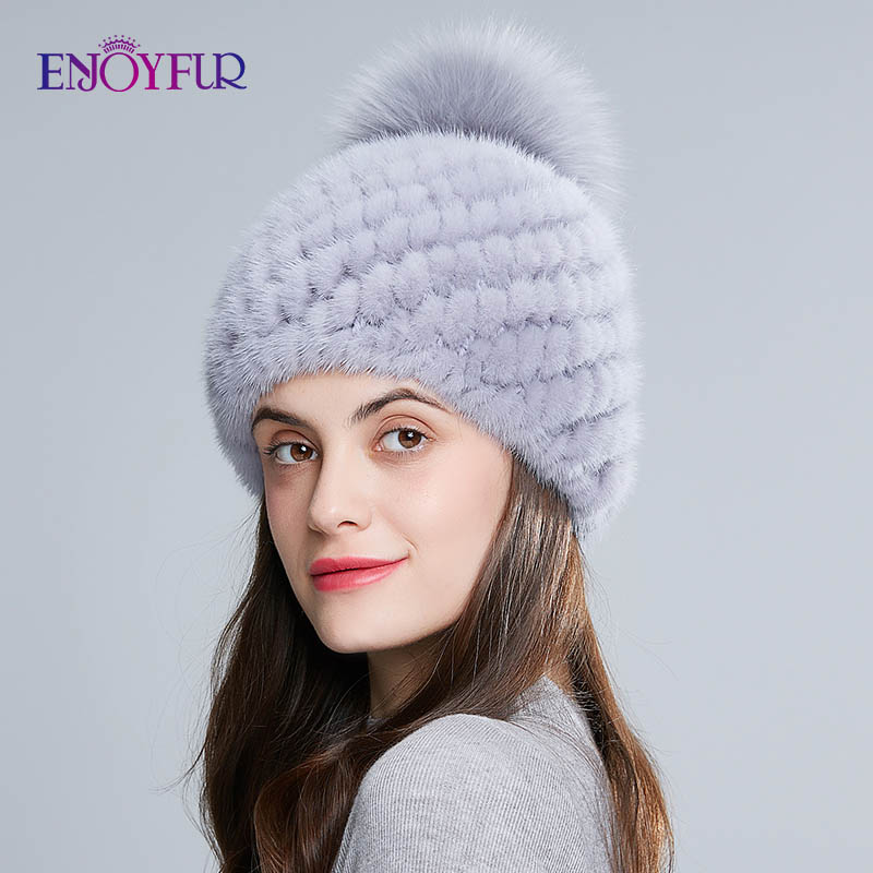 Image 4 - ENJOYFUR hot sale real mink fur hat for women winter knitted mink fur beanies cap with fox fur pom poms new thick  female cap-in Women's Skullies & Beanies from Apparel Accessories