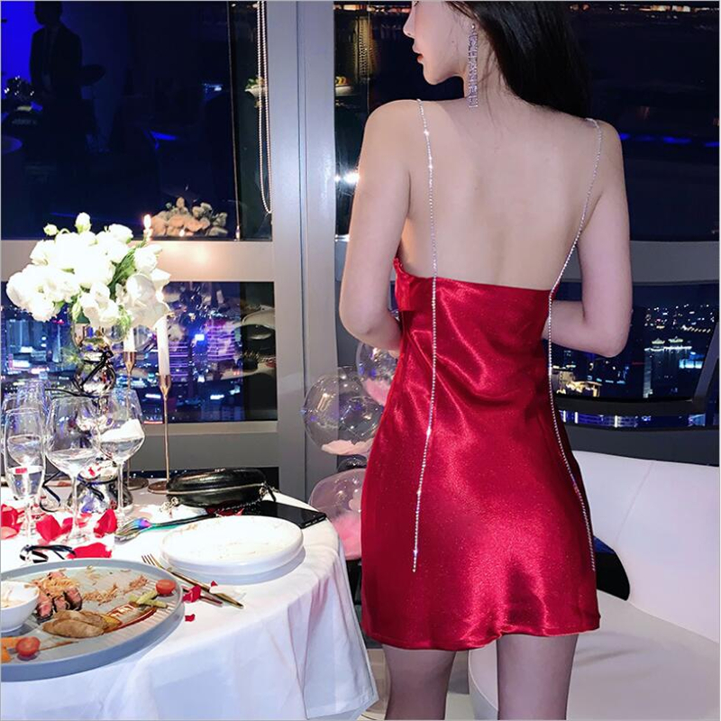 Korean Women off shoulder plus size red white black <font><b>dress</b></font> party <font><b>wear</b></font> lady <font><b>sexy</b></font> backless satin <font><b>club</b></font> mini <font><b>dresses</b></font> diamonds robe image