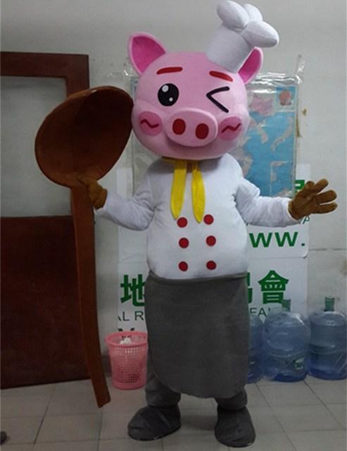 Hoạt Hình Con Heo Linh Vật Trang Phục Người Lớn Kích Thước Đầu Bếp Lợn Linh Vật Trang Phục Hoạt Hình Halloween Carnival Trang Phục Quảng Cáo Diễu Hành Trang Phục
