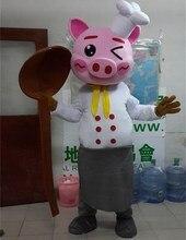 Karikatür domuz maskot kostümleri yetişkin boyutu şef domuz maskot kostüm karikatür cadılar bayramı karnaval kostüm reklam Parade kostümleri