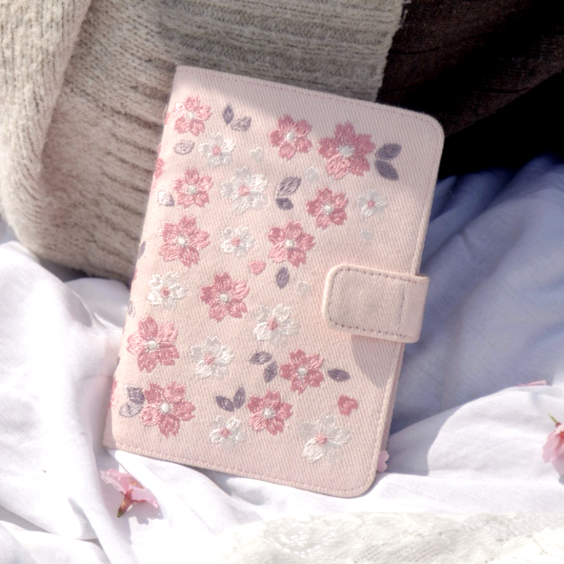 Kinbor Cherry Blossoms Embroidery Cloth Cover Monthly Planner Months Diary Notebook Personal Agenda Planner A6