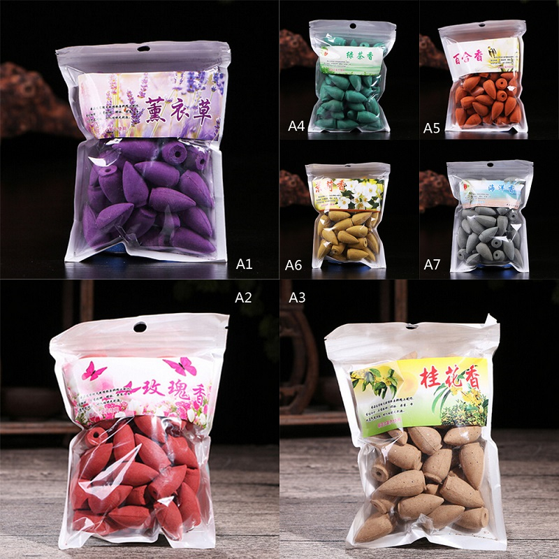45Pcs Backflow Incense Cones Natural Aroma Sandalwood Reflux Incense for Tea House Meditation Colored Smoke in Incense Incense Burners from Home Garden