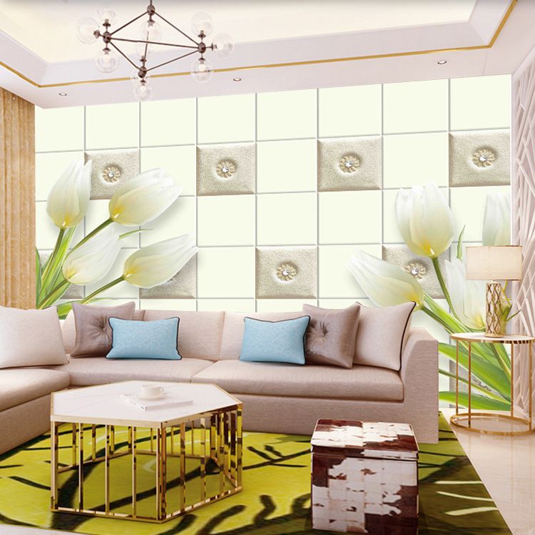 Large 3D Mural Wallpaper Fresh Lily Green Leaf Tile Leaf 5D Wallpaper Bedroom TV Backdrop Wall