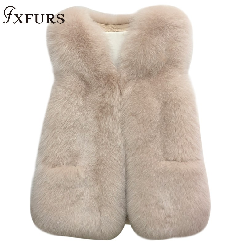 2019 New Genuine Fox Fur Vests Women Whole SKin Real Fur Waistcoats Winter Warm Outwear Short Fur Jackets Sleeveless Coats