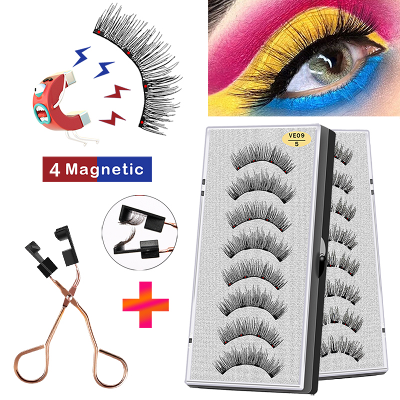 VISIBLE 8PCS 4 Magnets 3D Magnetic Eyelashes Handmade Makeup Mink Faux Cils Magnétique Natural Extension Lashes with Tweezers