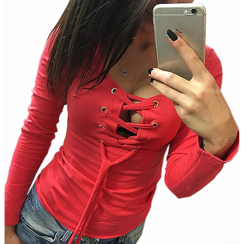 Casual Bottoming Shirt Autumn Long Sleeve Tops Lace Up Ladies Sexy Shirts Fashion Slim Bandage Shirts Blusas Women Tops LX068