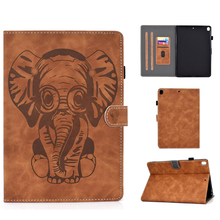 Luxury 3D Embossed Elephant Leather Flip Wallet Case for iPad 10.2 Air 10.5 2019 7th gen A2197 A2198 Cover Stand Auto Sleep