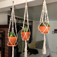 Macrame Handmade Plant Hanger Baskets Flower Pots Holder Balcony Hanging Decoration Knotted Lifting Rope Home Garden Supplies