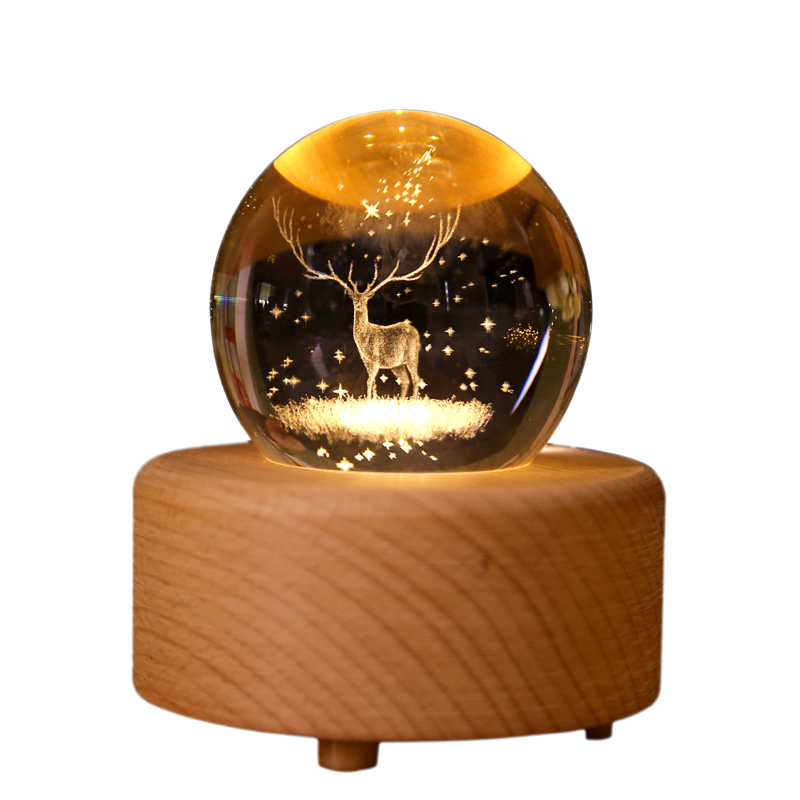 Starry Sky Milu Crystal Ball Intelligence Bluetooth Audio Woodiness Night-light Men And Women Girl Heart Romantic Christmas Gift