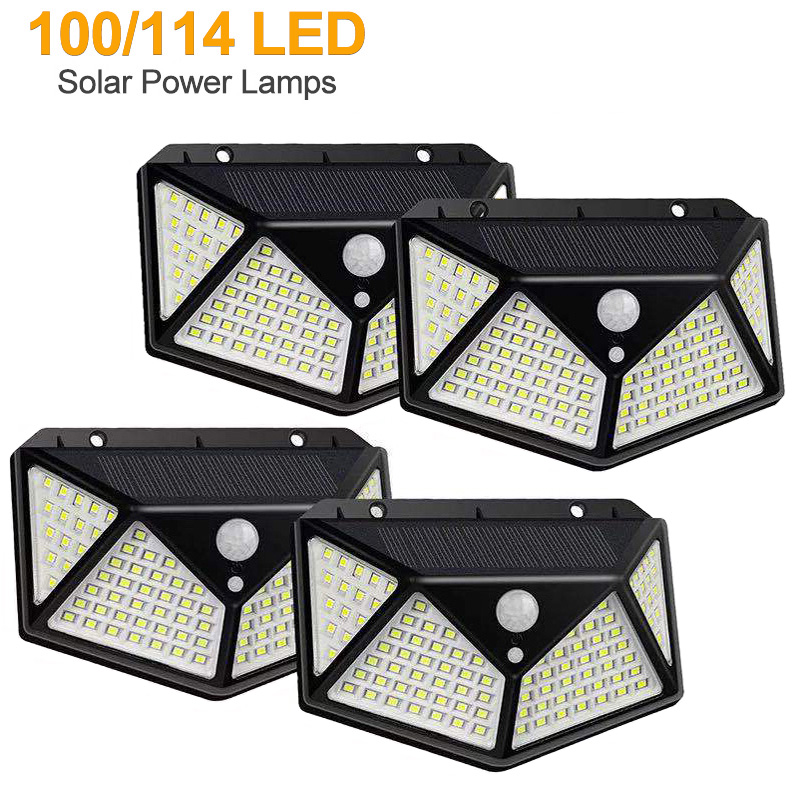 100/114 LED Solar Lamp Outdoor PIR Motion Sensor 3 Modes Solar Wall Light Four-Sided Waterproof Garden Yard Lamps