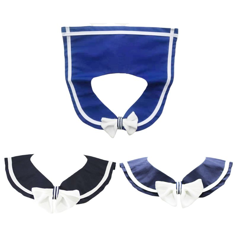 Soft Cotton White Bowtie Decorative Half Shirt Fake Collar Detachable Pullover Style Necklace Choker Students Clothing Accessory